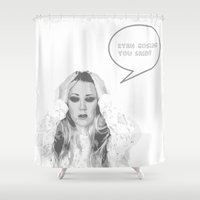ryan gosling Shower Curtains featuring Ryan Gosling You Said? by Sundell