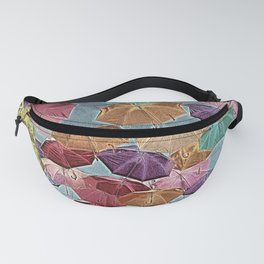 Raindrops Keep Falling Colorful Umbrellas Fanny Pack