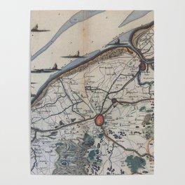 Vintage Map of Bruges Belgium (17th Century) Poster