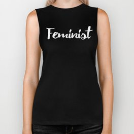 Feminist stylish white letter printed text for women rights, gender equity and feminism Biker Tank