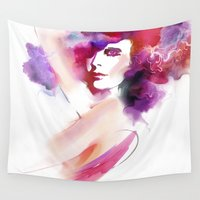 woman Wall Tapestries featuring woman by tatiana-teni