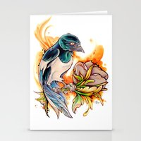 gemma Stationery Cards featuring Magpie by Gemma Pallat by ToraSumi