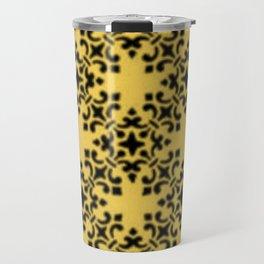 Vintage Brocade Damask Primrose Yellow Travel Mug