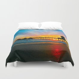 Sunset Huntington Beach Pier   Duvet Cover