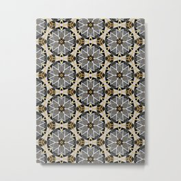 Gray and Gold Abstract Geometric Part VI. Metal Print