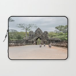 Angkor Thom South Gate with Tourists on Bikes, Cambodia Laptop Sleeve