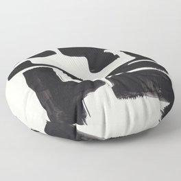 Mid Century Modern Minimalist Abstract Art Brush Strokes Black & White Ink Art Shapes Floor Pillow