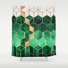 Emerald Cubes And Hexagons Shower Curtain