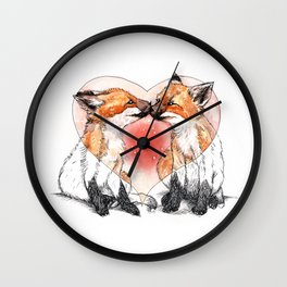 baby fox love Wall Clock