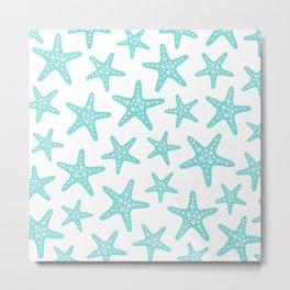 Sweet Starfish Pattern 235 Aqua Metal Print