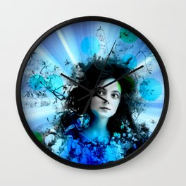 Psychedelic Moments Blue Wall Clock