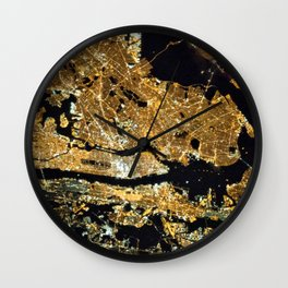 Space Station View of New York City at Night Photograph Wall Clock