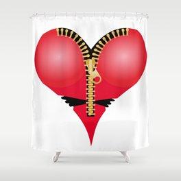 Heart Zip - 3rd Variation Shower Curtain