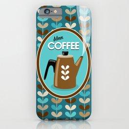 Mid Century Modern Coffee Kettle Kitchen Wall Decor // Caribbean Blue, Turquoise, Brown, Khaki, Tan iPhone Case