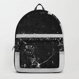 Black and White Marble Black Glitter Stripe Glam #1 #minimal #decor #art #society6 Backpack