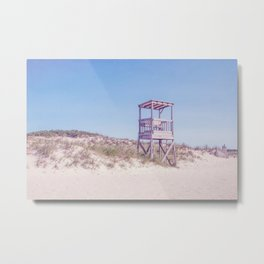 Lifeguard Chair on Blue Metal Print