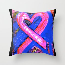 Super-Ribbon!! A Pink Ribbon for Breast Cancer Research by Jeffrey G. Rosenberg Throw Pillow