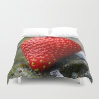 strawberry Duvet Covers featuring Strawberry by grafik ' prod
