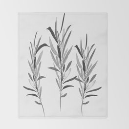 Eucalyptus Branches Black And White Throw Blanket