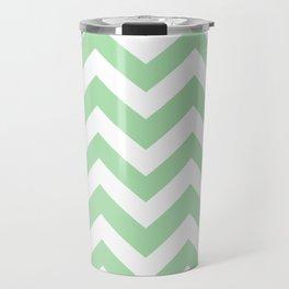 Celadon - green color - Zigzag Chevron Pattern Travel Mug
