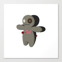 Voodoo doll. Cartoon horror elements. Spooky fear trick or treat Canvas Print