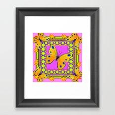 Decorative Golden Yellow Spotted Butterflies Pink Art Framed Art Print