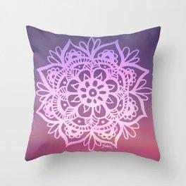 Sunset Sky Mandala Throw Pillow