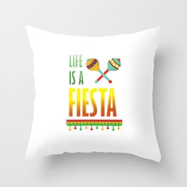 Life is a Fiesta Graphic Mexican Party T-shirt Throw Pillow