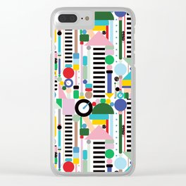 Memphis Milano Postmodern City Towers Clear iPhone Case