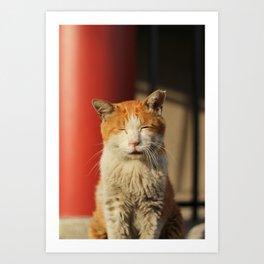 Ueno Shrine Cat Art Print