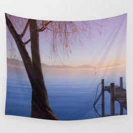 Peaceful Winter Sunset Over The Sea Wall Tapestry