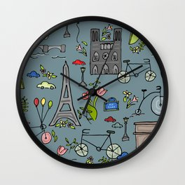 Cycling Through Paris Wall Clock