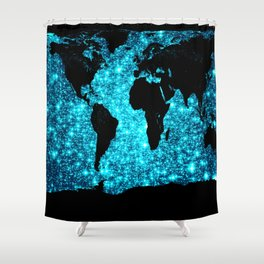 wOrld map Turquoise Sparkle Shower Curtain