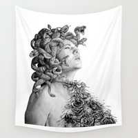 medusa Wall Tapestries featuring Medusa by April Alayne