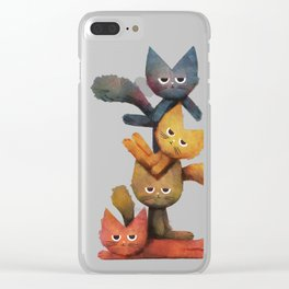 Lazy Cat Stack Clear iPhone Case