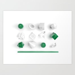 Top view of geometry primitives set in white, glass and green colors Art Print