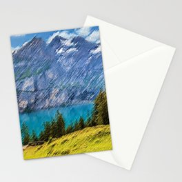 Bergsee Hut Overlooking Alpine Lake Landscape Painting by Jeanpaul Ferro Stationery Cards