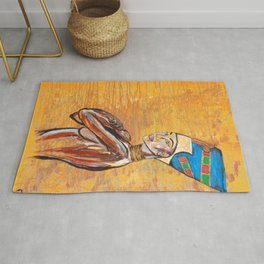 cleopatra,egypt,girl,woman,gold,cool,painting,decor,original,arab,princess,queen,jewels,abstract,god Rug