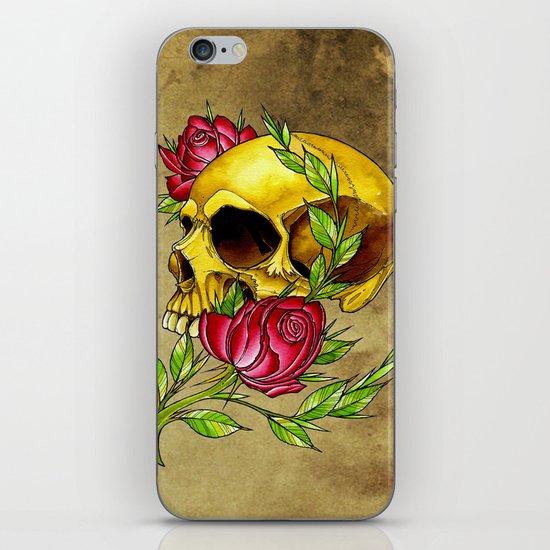trad skull w rose iPhone & iPod Skin