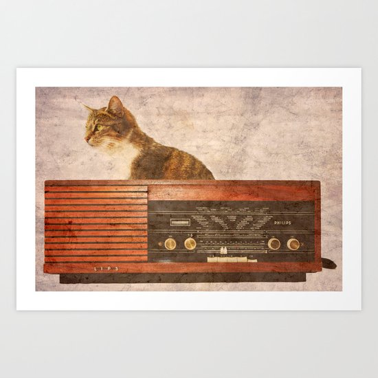 The Cat and the Radio Art Print
