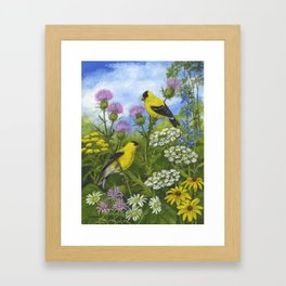 Goldfinches and Thistle Framed Art Print