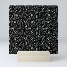 Circuit Components - White on Black Mini Art Print