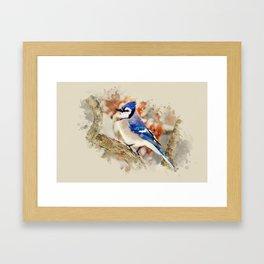 Watercolor Blue Jay Art Framed Art Print