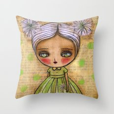 Dandelion Girl in Yellow And Green Throw Pillow