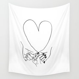 Parent Pinky Promise Family Line Art Mother Father Baby Wall Tapestry