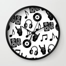 Black and white music headphones disk CD loudspeakers notes and fingers gesture goat pattern Wall Clock