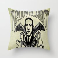 lovecraft Throw Pillows featuring H.P. LOVECRAFT by Bili Kribbs