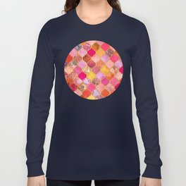 Hot Pink, Gold, Tangerine & Taupe Decorative Moroccan Tile Pattern Long Sleeve T-shirt