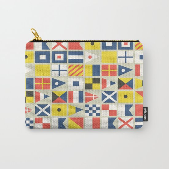 Geometric Nautical flag and pennant Carry-All Pouch