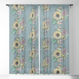 Watercolor Florals Revisited Sheer Curtain